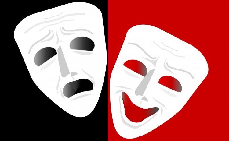 Teater masker. Hvide glad og ked teatermasker